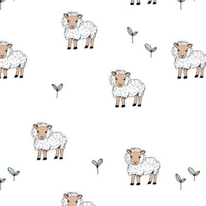 Little sheep in the fields grass farm animals sweet dreams nursery sand white neutral