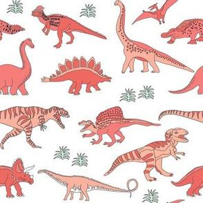 dinoworld girl dinosaurs fabric - girly dinosaur fabric, girls dinosaur fabric  - coral