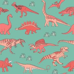 dinoworld girl dinosaurs fabric - girly dinosaur fabric, girls dinosaur fabric  salmon