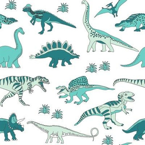 dinoworld girl dinosaurs fabric - girly dinosaur fabric, girls dinosaur fabric - mint