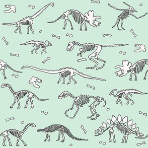 dinoworld brights fabric - dinosaur skeleton fabric, dino fabric, dinosaur girls fabric, girly dinosaur fabric - light mint