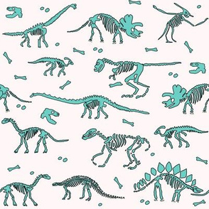 dinoworld brights fabric - dinosaur skeleton fabric, dino fabric, dinosaur girls fabric, girly dinosaur fabric - mint