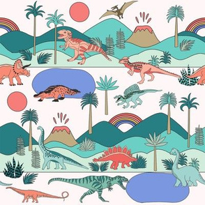 SMALL dinoworld brights fabric - girls dinosaur fabric, dinosaurs for girls, bright colors,