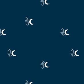 Moon light lunar magic universe minimalist abstract night nursery dreams navy blue white