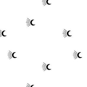 Moon light lunar magic universe minimalist abstract night nursery dreams monochrome black and white neutral