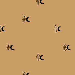 Moon light lunar magic universe minimalist abstract night nursery dreams caramel black neutral