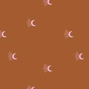 Moon light lunar magic universe minimalist abstract night nursery dreams rust copper pink girls