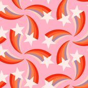 retro rainbow shooting stars pink