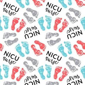 NICU nurse - multi baby feet - red/blue/grey - nursing - LAD20