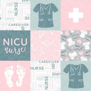 NICU Nurse - nursing patchwork - pink/dusty blue -  LAD20
