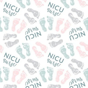 NICU nurse - multi baby feet - pink/blue/grey - nursing - LAD20