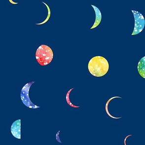 Scattered Moons - rainbow on blue