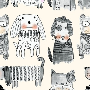 Dogs Bests friends forever in greyscale with off white background
