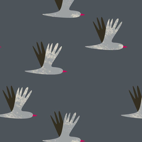 Abstract birds flying grey