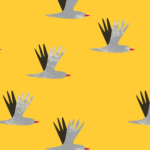 Abstract birds flying yellow