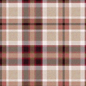Beige Brown and Burgundy Red Four Square Plaid