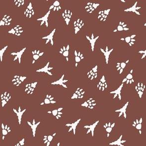 t rex prints fabric - tyrannosaurus rex fabric - dinosaur paw print, dinosaur foot print, dinosaur fabric - kids - brown