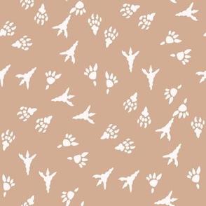 t rex prints fabric - tyrannosaurus rex fabric - dinosaur paw print, dinosaur foot print, dinosaur fabric - kids - tan