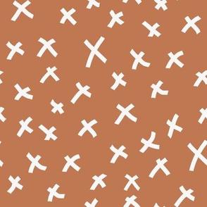 x fabric - chocolate brown, mocha fabric, bedding fabric, trendy muted colors fabric, nursery fabric, baby fabric -  rust