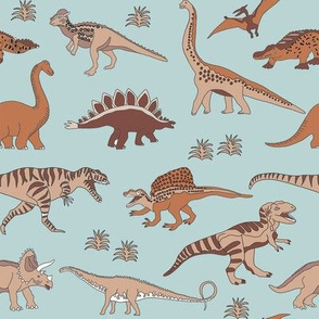 dinosaur fabric - muted nursery fabric, earth fabric, montessori nursery fabric, - soft mint
