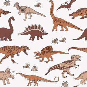 dinosaur fabric - muted nursery fabric, earth fabric, montessori nursery fabric, -  earthy brown