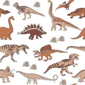 dinosaur fabric - muted nursery fabric, earth fabric, montessori nursery fabric, -  rust