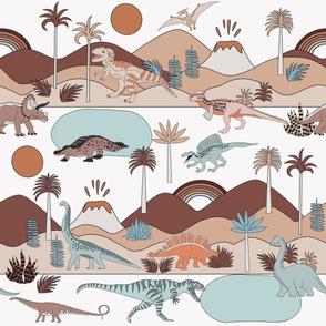 LARGE dinoworld fabric - muted earth tones fabric, baby fabric, baby bedding fabric, nursery fabric, montessori fabric, waldorf fabrics - earth