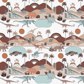 MEDIUM dinoworld fabric - muted earth tones fabric, baby fabric, baby bedding fabric, nursery fabric, montessori fabric, waldorf fabrics - earth