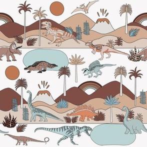SMALL - dinoworld fabric - muted earth tones fabric, baby fabric, baby bedding fabric, nursery fabric, montessori fabric, waldorf fabrics - earth