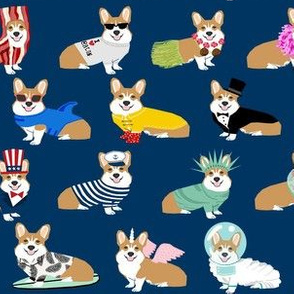 corgi costume fabric - corgis in costumes, corgi fabric, corgi design, dog fabric -  navy