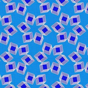 Silver Foil Boxes in Boxes Starburst Petals in Blue Tile