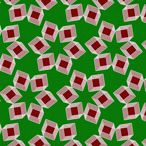 Silver Foil Boxes in Boxes Starburst Petals in Red and Green Tile