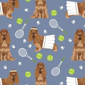 cocker spaniel tennis fabric - cute dog fabric, cocker spaniel fabric, tennis fabric, tennis ball - medium blue