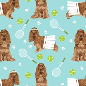 cocker spaniel tennis fabric - cute dog fabric, cocker spaniel fabric, tennis fabric, tennis ball -  mint