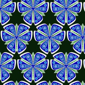 Silver Foil Dark Blue Butterfly Wing Flower Tile