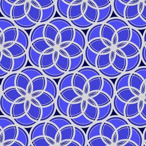 Silver Foil Floral Circles Geometric Nature in Blue Tile