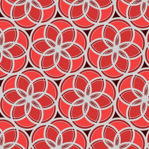 Silver Foil Floral Circles Geometric Nature in Red Tile