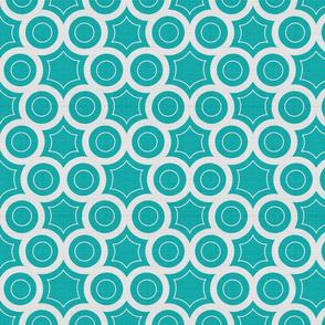 Silver Foil Honeycomb Circular Hexagon Pattern in Teal Tile