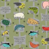 Save Endangered Species IV on Olive Green