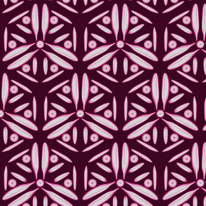 Silver Foil Windmill Blade Brushstroke Geometric with Hot Pink Tile