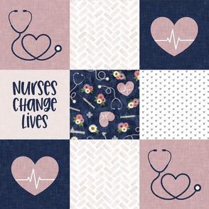 Nurses Change Lives - Nursing patchwork wholecloth - Navy/Mauve  - LAD20