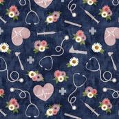 floral nurse melody - nursing - syringe, ekg, stethoscope -  mauve and blue - LAD20