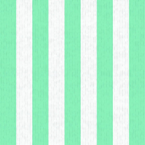 Teal Green & White Stripes w/ Linen Effect (Large Size Print)