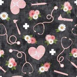 floral nurse melody - nursing - syringe, ekg, stethoscope -  pink/grey - LAD20