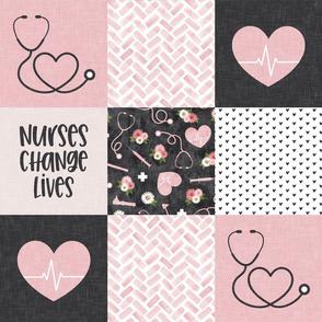 Nurses Change Lives - Nursing patchwork wholecloth - pink/grey - LAD20