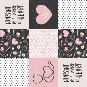 Nursing is a work of heart - Nurse patchwork wholecloth - pink/grey (90) - LAD20