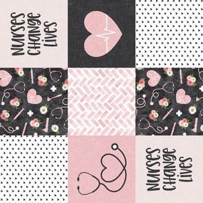 Nurses Change Lives - Nursing patchwork wholecloth - pink/grey (90) - LAD20