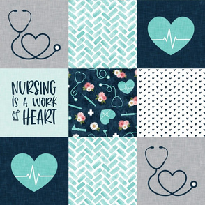 Nursing is a work of heart - Nurse patchwork wholecloth - teal/blue - LAD20