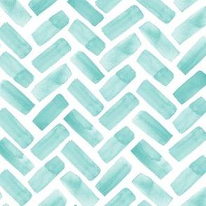 watercolor herringbone - teal - LAD20