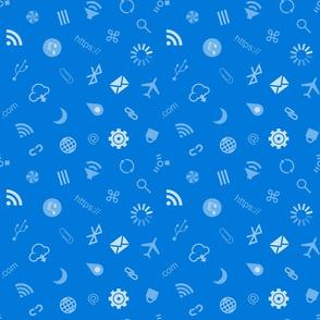 Computer Tech Symbols-Blue